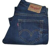 Mens LEVI'S 907 Dark Blue Faded Effect Twisted Bootcut Denim Jeans W32 L34