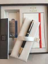PARKER IM BLACK LAQUE GT FOUNTAIN PEN & NOTE BOOK DELUXE GIFT SET-BLUE INK