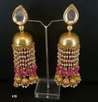 Indian Kundan Jewelry Tassle Earrings Jhumka Latest Traditional Ethnic ES