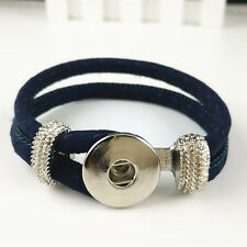 DIY Handmade Leather Bracelets Drill Fit For Noosa Snaps Chunk Charm Button Q44