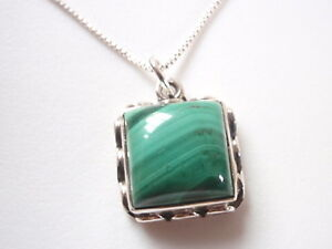50.6 x 32.3 mm. size Design silver necklace pendant with Malachite gemstone Hand-forged frame