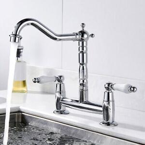 Retro Kitchen Sink Mixer Taps Dual Ceramic Handles Bridge Style Tap Brass //