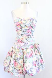 Vtg 90s Pale Pink Floral Strapless Ruched Party Prom Dress Costume Size 6 Retro