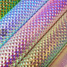 Raised Lattice Bead Metallic Iridescent Vinyl Leatherette Faux PU Leather Fabric