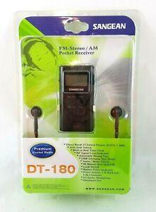 Sangean Dt-180/black Pocket Am/fm/ Receiver with Headphones (dt180blk) NEW