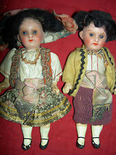 Adorable PAIR, antique bisque 1920s German jointed dolls, original costumes