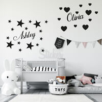 Personalised Name Wall Sticker Boy Girls Kids Custom Vinyl Art Decal Quotes Mix