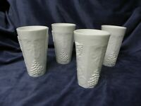 Indiana Colony Milk Glass Opaque White Harvest Grape Tumblers 5 3/4 in- Set of 4