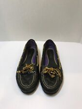 Sperry Top-Sider Women's Quilted Black Leather Boat Loafers Audrey Size 7M
