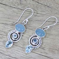 2018 Jewelry 925 Silver Earrings Women  Sea Blue  Vintage Topaz Dangle Drop Hook