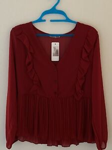 Made in Italy, Buttons Front Shirts/Blouse Top Women Ladies Christmas Spirit Red