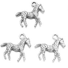 100pcs Antique Silver Zinc Alloy Animal Horse Findings Charms Crafts Pendants J