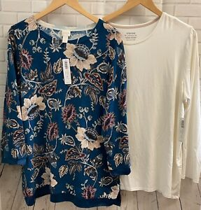 Lot NWT Chico's Plus Size 4 (XXL) Blue Floral Sweater & Ecru Ultimate Tee