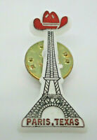 Paris Texas Eiffel Tower wearing Cowboy Hat Vintage Lapel Pin