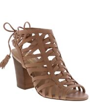 Women's Strappy Tan Open Toe Chunky High Block Heel Sandal Shoes Size 10 NEW