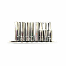 "9PC 1/4"" SAE IMPERIAL AF Deep Socket Set Holder 50mm Long 3/16 to 7/16 Taiwan"