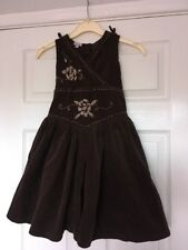 MONSOON Girls Brown Needle Cord Embroidered Dress Years 5 - 6 Years ⭐️VGC⭐️