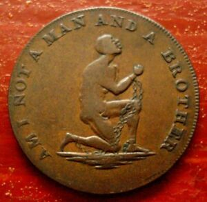 1795 Anti-Slavery Abolition Token Halfpenny Kneeling Slave In Chains Choice