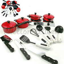 Kids Kitchen Game Chef Role Play Toy Gas Cooker Pot Cookware Spoon Utensil Set
