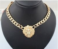 Fashion Women's Charm Lion Head Choker Statement Necklace Chain Pendant Jewelry