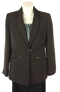 Womens Daniele O by Tahari Levine Brown Jacket Blazer Size 6 Faux Leather Accent