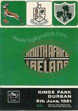 Afrique du Sud/Irlande Test 2nd 6 jun 1981 Durban rugby programme