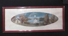 Belle Aquarelle Ancienne Signée CLAIR de LUNE 65x27,5cm début 20éme