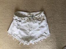 Women's White Studded Denim Short Shorts Size Large