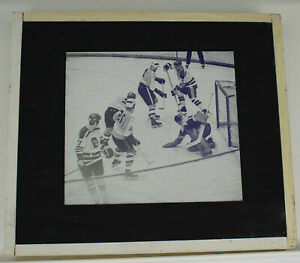 Flint Generals IHL Program Printing Plate Mounted Goalie Save 1970s