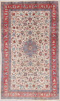 Consigned Elegant Floral Sarouk Persian Oriental Hand-Knotted 4x7 Ivory Wool Rug