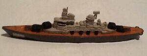 Tootsietoy WWII Navy Battleship #145 Diecast Military Boat Cast Hull On Wheels