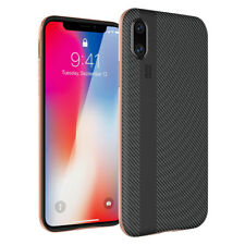 FR iPhone X 8 7 Plus Carbon Fiber Hybrid Rugged Soft Armor Shockproof Case Cover for iPhone 6/6s Gold