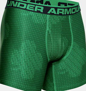 "Men's Under Armour Original Series Novelty 6"" Boxerjock LUCK Green Size Large"