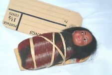Vtg Male Skookum Papoose Indian Baby Doll Composition un-marked Postage Label