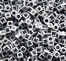 Letter W - 100pc 7mm Alphabet Beads White with Glossy Black Letters