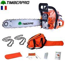 TIMBERPRO Tronçonneuse 62 cm3. 3,6 cv guide 50 cm. 2 chaines + housse transport