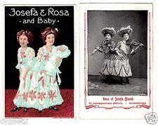 POSTCARDS (2) SIAMESE TWINS JOSEFA & ROSA BLAZEK ENTERTAINERS