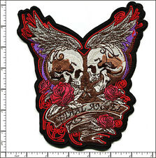 2 Pcs Embroidered Iron/Sew on patch BIG Lethal Angel Skull 15.5x17.5cm AP021tC