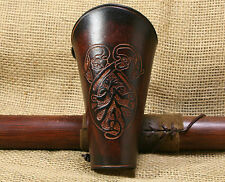 Brassard de Bow cuir brun CELTIQUE créatures GRAVANT en refief remontant Viking