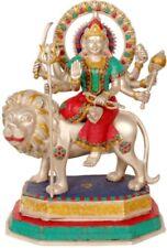 "JAI Mother Durga On LionGod Statue 15.7"" Brass  Stone Work Hindu Figure 9.39 KG"