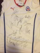 CHILE COPA 15 SIGNED AUTOGRAPH SHIRT PUMA SOCCER JERSEY PROOF ALEXIS+VIDAL+BRAVO