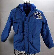 VINTAGE CHALK LINE GIANTS Blue Down Ski Winter Puffy Hooded Jacket Coat USA
