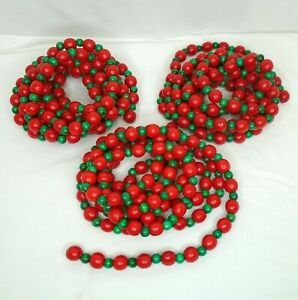 Lot of 3 9 ft Strands Christmas Tree Garland Wood Beads Bigger Red Smaller Green