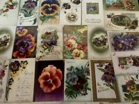 Nice~LOT of 25 ~PANSY~Flowers Pansies~Floral~Greetings Postcards-In Sleeves-b482