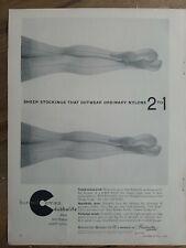1956 Burlington Bur-Mil Camafeo Mujer las Medias Piernas Vintage Moda Anuncio