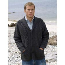 Men's Collar Cardigan Aran Crafts 100% Merino Wool, Charcoal Colour