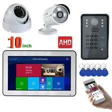 "10"" Wired/Wireless Wifi RFID Password Video Door Phone 2CH AHD Security Camera"