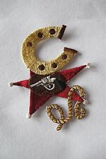 #3061 Cowboy Horseshoe,Star,Gold Rope Embroidery Iron On Applique Patch