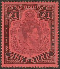 Bermuda 1937 KGVI £1 Purple and Black on Red p14 Mint SG121 cat £275