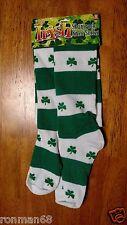Irish Shamrock Knee High Socks Ireland St Patrick's Day NWT Green White